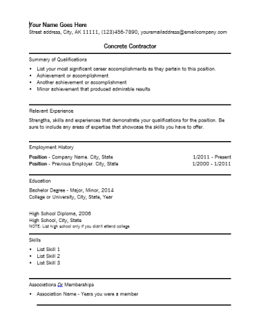 Free Concrete Contractor Resume Template